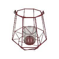 Photophore - Lanterne A Bougie HOMEA Photophore Geometrik 18.5x18.5xH18 cm rouge