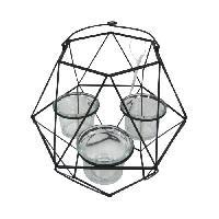Photophore - Lanterne A Bougie HOMEA Photophore Geometrik 20x18.75xH27 cm noir