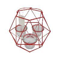 Photophore - Lanterne A Bougie HOMEA Photophore Geometrik 20x18.75xH27 cm rouge