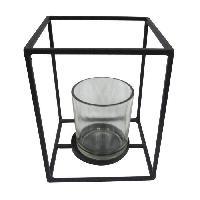 Photophore - Lanterne A Bougie HOMEA Photophore en metal et verre 12x12xH15 cm noir