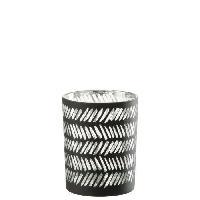 Photophore - Lanterne A Bougie Photophore en Verre 10x10x13 cm Noir et Argent
