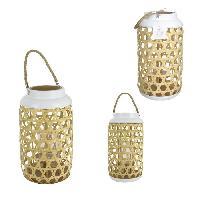 Photophore - Lanterne A Bougie THE HOME DECO FACTORY Lanterne tressee en bois - 21X21X38.5Cm - Beige-Blanc