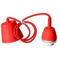 Piece Detachee Luminaire Cordon electrique pour suspension douille E27 60W max. cable tissu tresse rouge longueur 100cm