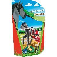 Piece Detachee Monde Miniature PLAYMOBIL 9261 - Jockey avec cheval de course