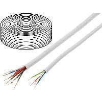 Pieces Detachees De Videosurveillance 100m Cable video surveillance - YTDY - cuivre - 6x0.5mm - blanc ADNAuto