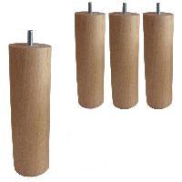 Pied De Lit 4 Pieds Cylindriques Verni naturel H 20cm
