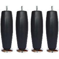 Pied De Lit Jeu de pieds Elegance ronds D 6 H 19 cm Noir - Lot de 4