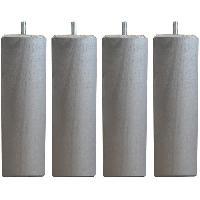 Pied De Lit Jeu de pieds carres L 5.4 cm x l 5.4 cm H 14.5 cm - Gris metal - Lot de 4
