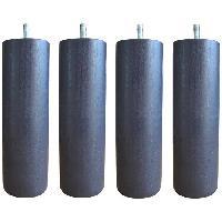 Pied De Lit Jeu de pieds cylindriques D 6.2 H 17 cm Gris anthracite - Lot de 4
