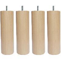 Pied De Lit Jeu de pieds cylindriques en bois D 6.2 cm - H 19 cm - Lot de 4