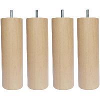Pied De Lit Jeu de pieds cylindriques en bois D 7 cm - H 15 cm - Lot de 4