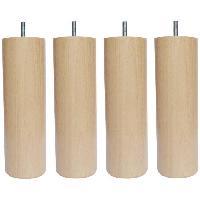 Pied De Lit Jeu de pieds cylindriques en bois D 7 cm - H 17 cm - Lot de 4