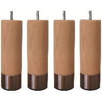 Pied De Lit Jeu de pieds cylindriques en bois et inox brosse D 5 cm - H 14.5 cm - Lot de 4
