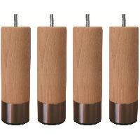 Pied De Lit Jeu de pieds cylindriques en bois et inox brosse D 6 cm - H 14.5 cm - Lot de 4