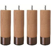 Pied De Lit Jeu de pieds cylindriques en bois et inox brosse D 6 cm - H 19 cm - Lot de 4