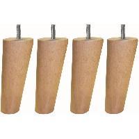 Pied De Lit Jeu de pieds fuseau ronds incline en bois D 5.4 cm - H 13.5 cm - Lot de 4