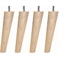 Pied De Lit Jeu de pieds fuseau ronds incline en bois D 5 cm - H 19.5 - Lot de 4