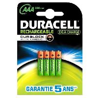 Piles DURACELL Recharges Ultra Piles Rechargeables type LR03 / AAA 900 mAh Lot de 4