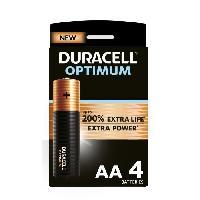 Piles Duracell - NOUVEAU Piles alcalines AA Optimum. 1.5 V LR6 MX1500. paquet de 4