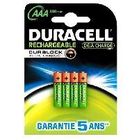 Piles Duracell Piles Rechargeables AAA 900 mAh. lot de 4 piles