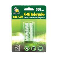 Piles GALIX Lot de 2 piles rechargeables LR03/AAA - Ni-Mh - 1.2 Volts - 300 mAh