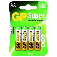 Piles PILES SUPER ALCALINE AALR06 - GP 15AE-2U4 LR6 Blister de 4 piles