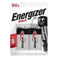 Piles Piles Alcalines Energizer Max 9V. pack de 2