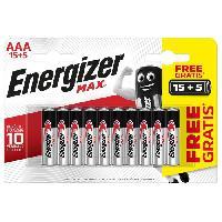 Piles Piles Alcalines Energizer Max AAA/LR3. pack de 15+5
