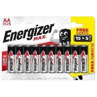 Piles Piles Alcalines Energizer Max AA/LR6. pack de 15+5