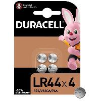 Piles Piles boutons alcalines Duracell spéciales LR44 1.5V. lot de 4 (76A / A76 / V13GA)