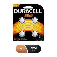 Piles Piles boutons au lithium Duracell spéciales 2016 3V. lot de 4 (DL2016/CR2016)
