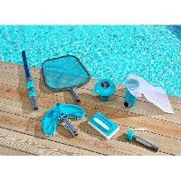 Piscine - Entretien Et Mesure SPOOL Kit d'entretien de piscine 6 accessoires : manche téléscopique. brosse ligne d'eau. épuisette. thermometre. balai. diffuseur d