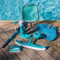 Piscine - Entretien Et Mesure SPOOL Kit d'entretien de piscine 8 accessoires : manche. brosse ligne d'eau. épuisette. thermometre. balai. diffuseur. balai demi lu