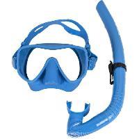Piscine - Plongee - Chasse Sous-marine BEUCHAT Kit masque Tuba tout silicone bleu ciel - Adulte