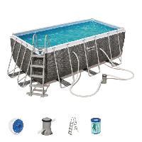 Piscine BESTWAY Piscine rectangulaire et accessoires -echelle. filtre etc- Power Steel Frame Pool - 412x201x122 cm - Imitation Tresse Gris