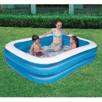 Piscine Complete - Kit Piscine BESTWAY Piscine familiale bleue translucide rectangulaire - 201cm X 150cm h 51cm 2 boudins