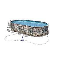 Piscine Complete - Kit Piscine BESTWAY Piscine ovale Steel Frame Pool - 610 x 366 x 122 cm - Pierre