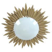 Plafonnier SOLEIL Plafonnier feuilles soleil verre opale - 45x45x13 cm - Or