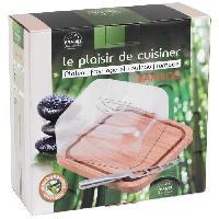 Planche A Decouper Planche a decouper en bambou avec cloche + couteau a fromage - Inox