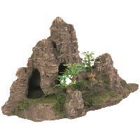 Plante D'aquarium - Vivarium - Terrarium - Decoration Vegetale - Substrat - Racine - Bois Rocher escalier avec plante pour aquarium - 22cm - Pour poisson