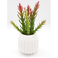 Plante Poussee Cactus artificiel dans son contenant Scandinave - H 17 cm - Blanc