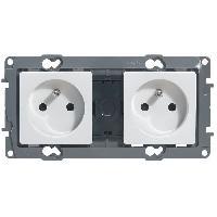 Plaque -  Cadre De Finition Pour Prise - Interrupteur Double prise de courant avec terre precablee Niloe blanc avec enjoliveur finition eclat
