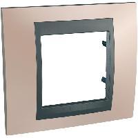 Plaque -  Cadre De Finition Pour Prise - Interrupteur Plaque 1 poste Unicatop en graphite lisere cuivre