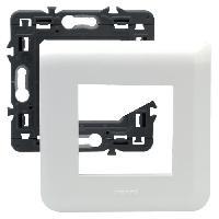 Plaque -  Cadre De Finition Pour Prise - Interrupteur Plaque support fixation a vis 2 modules Mosaic blanc