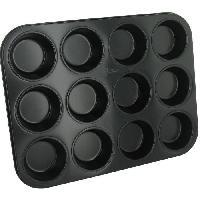 Plaque A Patisserie Plaque a muffins antiadhesif en acier revetu - 12 cavites - 35x27 cm - Noir