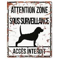 Plaque De Porte - Lettre Decorative DetD Plaque Attention Chien Beagle - Blanc