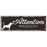 Plaque De Porte - Lettre Decorative DetD Plaque Attention Chien Beagle - Noir
