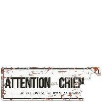 Plaque De Porte - Lettre Decorative DetD Plaque Attention Chien Beware of the Dog - Blanc Gris