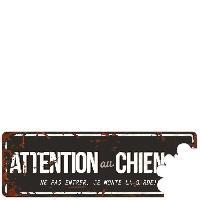 Plaque De Porte - Lettre Decorative DetD Plaque Attention Chien Beware of the Dog - Noir Gris
