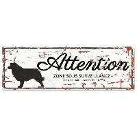Plaque De Porte - Lettre Decorative DetD Plaque Attention Chien Collie- Blanc